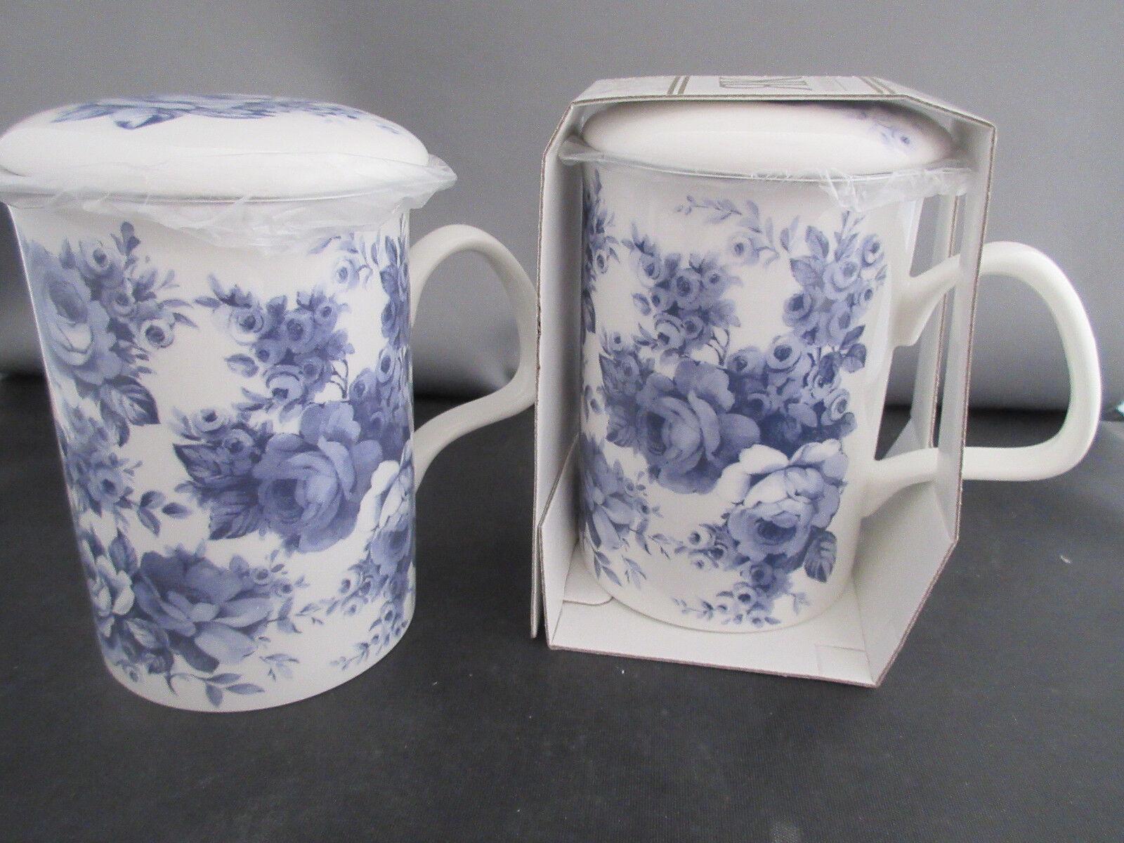 Set of 2 BLUE CHINTZ  Infuser mugs, Fine Bone China MadeEngl