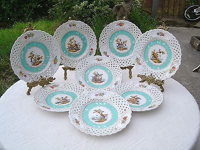 SET OF EIGHT ANTIQUE RETICULATED PORCELAIN PLATES - HAND PAINTED BIRDS