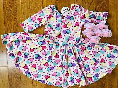 NWT Dot Dot Smile Twirly Summer dress Girls Ballerina Cup Cake