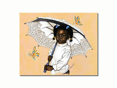 African American Black Girl Umbrella Butterflies Wall Picture 8x10 Art Print