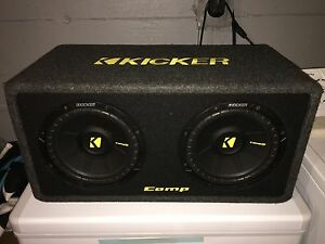 "Kicker CompS Dual 10"" 2 Ohm Subwoofers w/Enclosure"