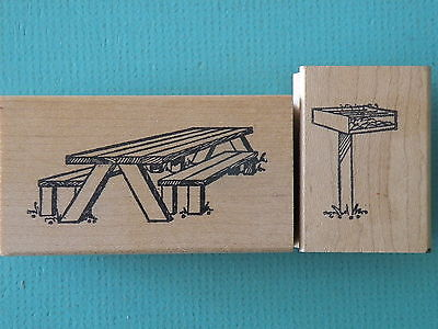 Picnic Table and Park Barbeque Set of (2) DOUBLE D Rubber Stamps