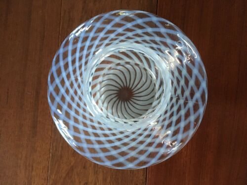 VINTAGE OPALESCENT? SWIRL GLASS BOWL CANDY DISH LAMP SHADE