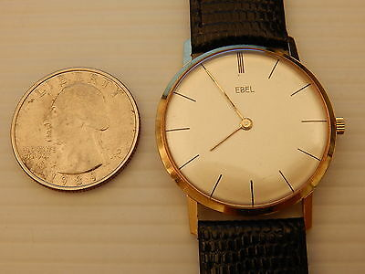 EBEL SOLID 18K GOLD 32MM MECHANICAL DRESS WATCH ANTIQUE COLLECTIBLE