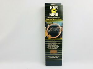 Vintage Kar King Genuine Leather Laced Steering Wheel Cover - Tan 14