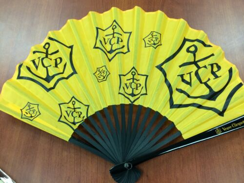 Authentic Veuve Clicquot VCP Signature Yellow Hand Fan Awesome RARE BRAND NEW