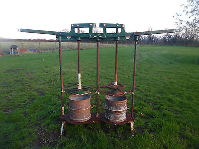 Antique / Vintage Original Cast Iron Cheese /Apple / Cider Press with Buckets