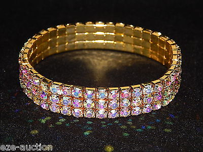 IRIDESCENT 3 ROW GOLD AB AURORA BOREALIS RHINESTONE STRETCH BRACELET BANGLE 4346 3 Row Stretch Rhinestone Bracelet
