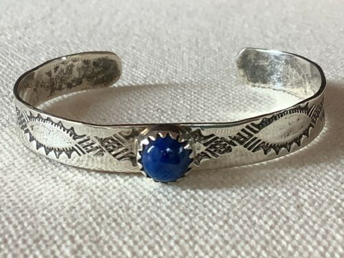 Sterling Silver Child or Small Wrist Size Southwest Stamped Bracelet with Lapis