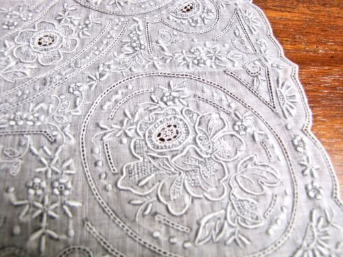 Antique Encrusted Embroidered Wedding Hankie, Appenzell, hand stitched, Swiss