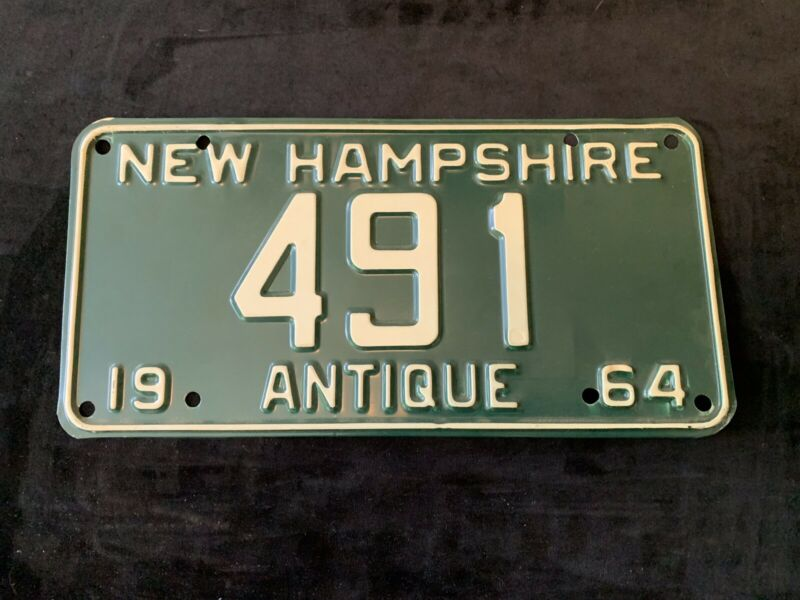 1964 New Hampshire Antique License Plate # 491 Car Automobile