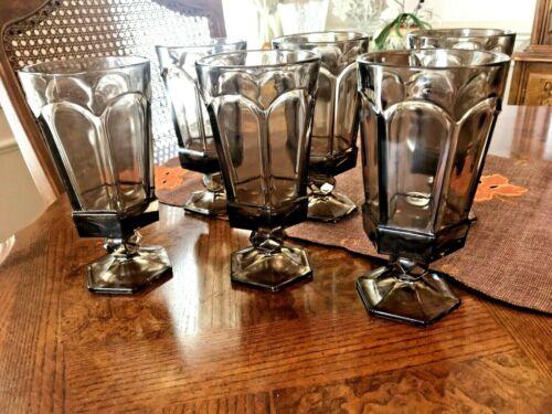 "Vintage Fostoria Virginia Amethyst Purple Glass  6"" Footed Water Goblets 6"