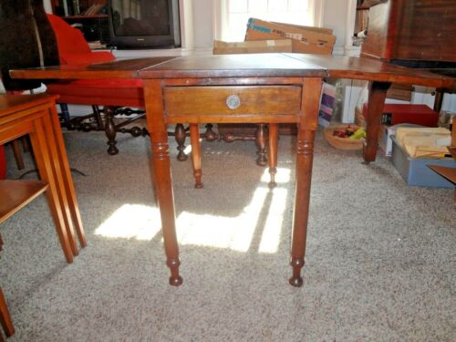 Vintage Antique drop leaf primitive ish table with drawer pickup 19119