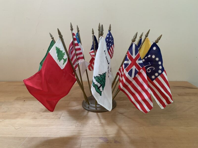 Vintage ANNIN & CO. Flags of Our Country Desk Display - Twelve 4x6 Flags w/ Base