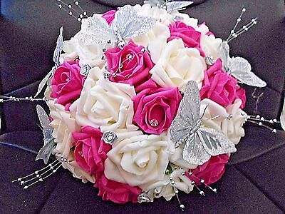(HOT PINK & IVORY ROSE WEDDING BOUQUET SILVER RIBBON ROSES, BUTTERFLIES DIAMANTES)