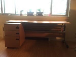 Long professional desk and filing cabinet, plus FREE desk chair
