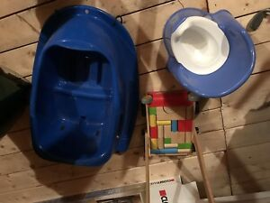 Misc Baby Stuff - Potty, Walking Trainer and winter sled