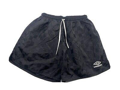 Vintage Umbro Checkered Nylon Athletic Soccer Shorts Black Mens Size XL