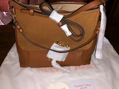 See by Chloe Medium Joan Suede & Leather Shoulder Bag NWT Caramello