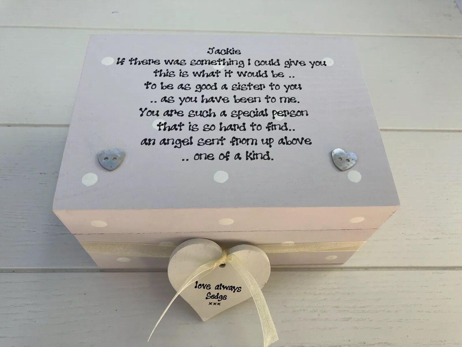 Shabby Personalised Chic Gift Special Sister Trinket Keepsake Box Birthday - 233003830385