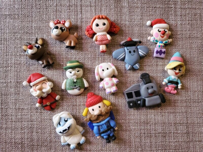 Polymer Clay Figs Lot Rudolph the Red-Nosed Reindeer & the Island of Misfit Toys