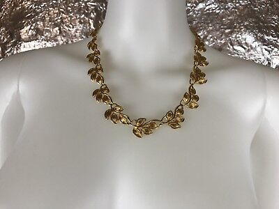 Women's Vintage 1980's Gold Signed Napier Leaf Design Necklace, Fashion Jewelry