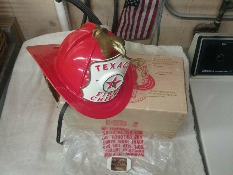 Texaco Fire Chief Helmet w/ Original Box and Original Batteries in holder