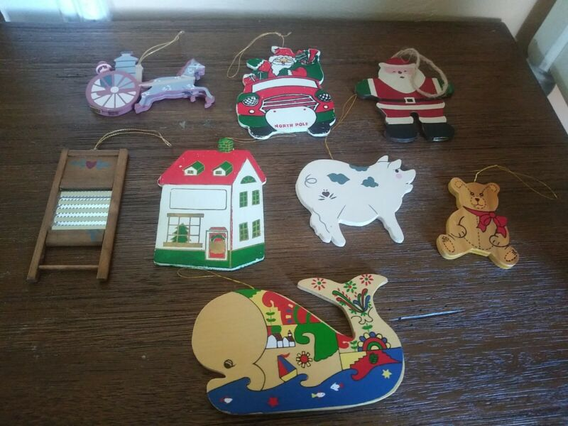 Lot of 6 Vintage Wooden Christmas Ornaments