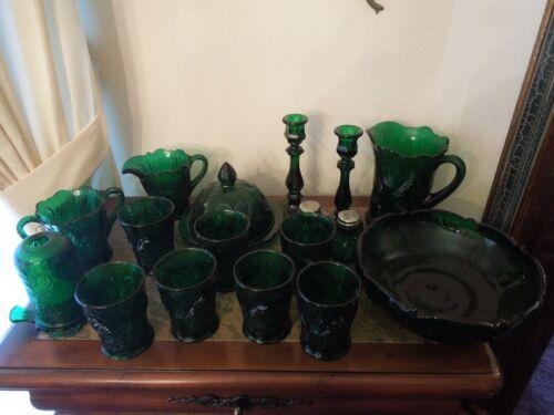 Antique Emerald Glass Host Set, 19 Pcs.