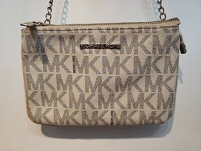 Michael Kors Womens Handbag Beige Chain Crossbody Bag