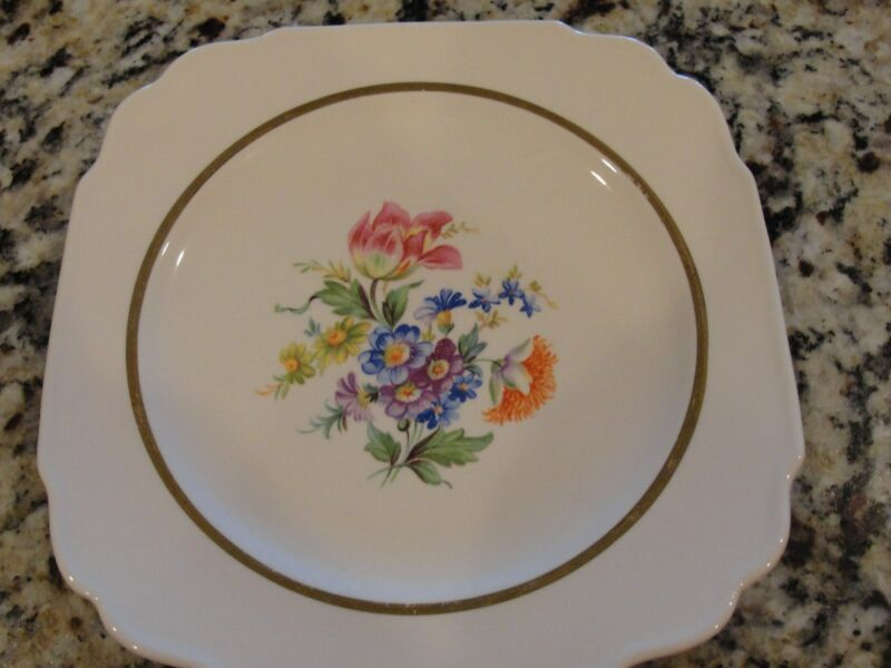 Vintage Floral  Gold Inlay Early American Plate by Harker Est. 1840