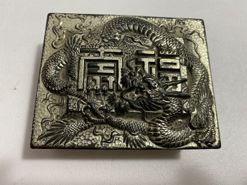 Antique Chinese Japanese Oriental Dragon Silver Tone Small Trinket Jewelry Box