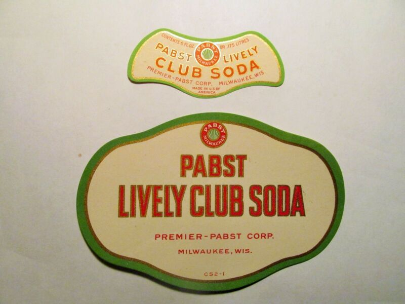 PABST LIVELY CLUB SODA prohibition labels PABST BREWERY MILWAUKEE