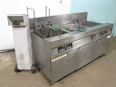 """FRYMASTER"" COMMERCIAL H.D 2 BANK ELECTRIC FRYERS w/AUTO LIFT & FILTRATION UNIT"