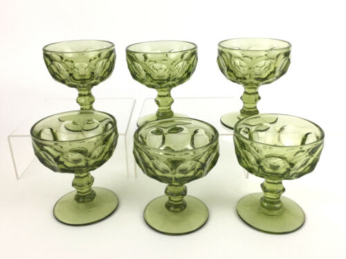 Imperial Glass PROVINCIAL #1506 champagne or sherbet glasses verde green c.1960+