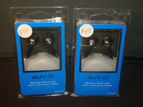 Lot of TWO, BRAND NEW, BLACK AUVIO 3.5mm STEREO EARBUDS w/Carrying Cases