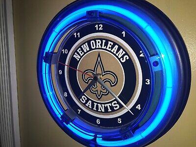 New Orleans Saints Football Bar Man Cave Blue Neon Wall Clock Sign ()