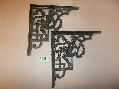 Pair Vintage Cast Iron Toilet Cistern  Cherub   Brackets Bathroom Supports 728