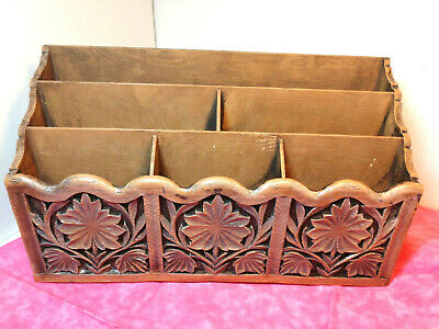 Vtg Lerner Desk Organizer Paper Mail Pen Holder Sorter Faux Carved Wood Storage