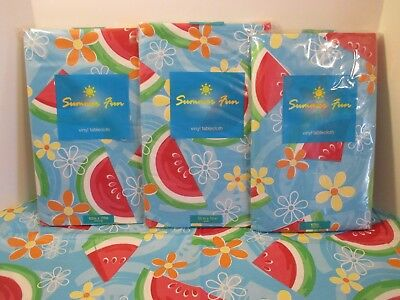 Easy Wipe Vinyl - Elrene Watermelon Vinyl Flannel Backed Easy Wipe Kitchen Party Picnic Tablecloth