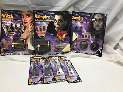 Rubies Vampire Witch Zombie Make up and Accessories plus 2 Black 2 White Cream - Zombie Accessories