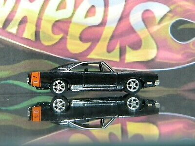Hot Wheels  1969 Dodge Charger RT Black with Orange Stripe MOPAR Muscle Car