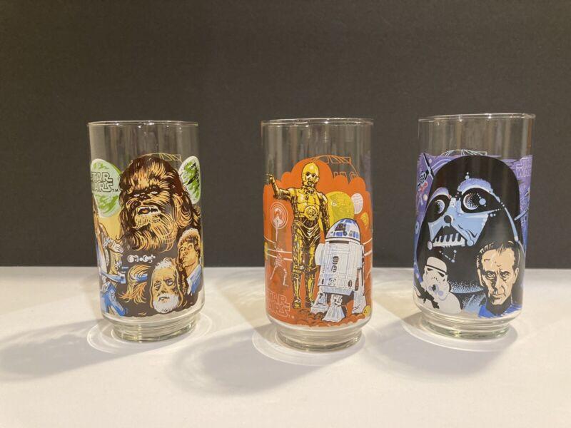 VINTAGE STAR WARS BURGER KING Coca Cola c1977 GLASSES SET OF 3