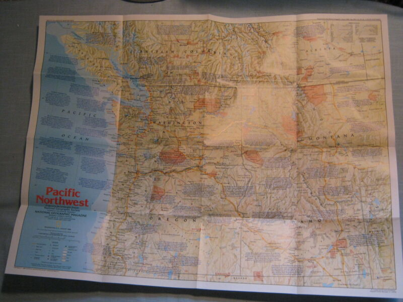 PACIFIC NORTHWEST MAP+ THE MAKING OF AMERICA HISTORY National Geographic 1986