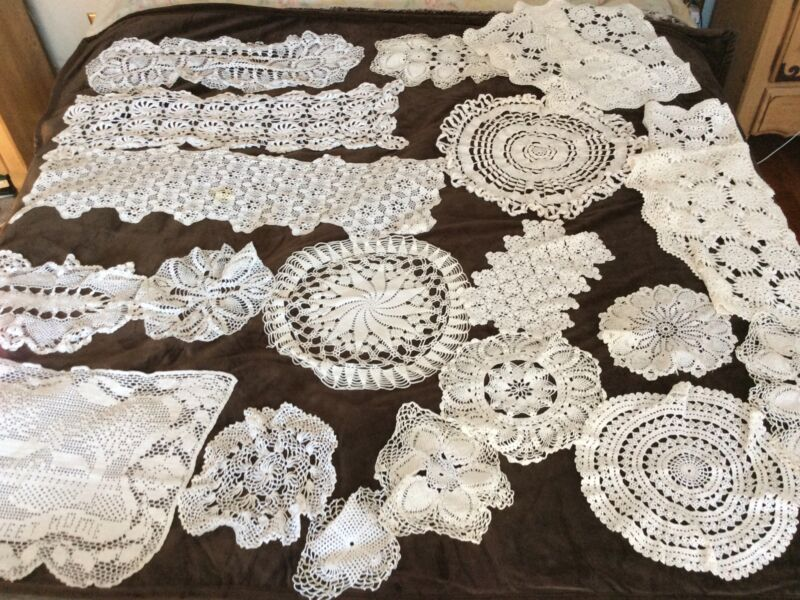 vintage crochet doilies lot. 30+