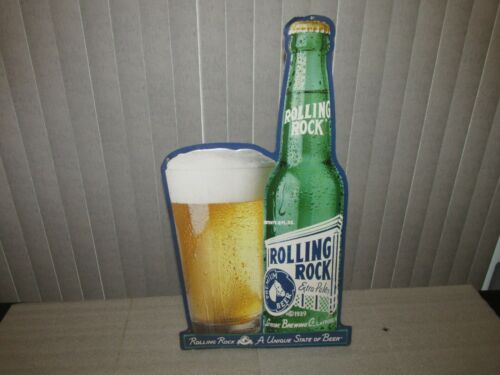 "Rolling Rock Beer Sign ""A unique state of Beer"" tin advertising Latrobe Brewing"
