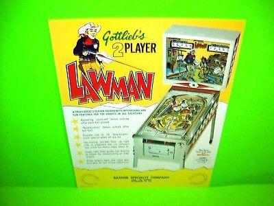 Gottlieb LAWMAN Original Flipper Arcade Game Pinball Machine Promo Flyer 1971
