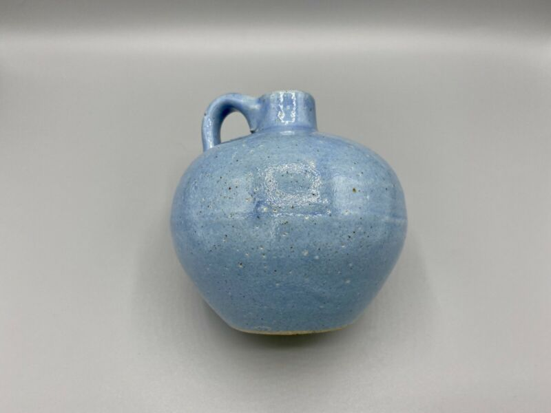 Uhl Pottery Vintage Handled Mini Jug Light Blue Stoneware Art Pottery