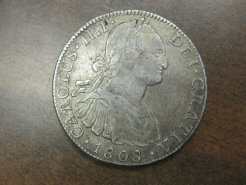 1808 CARLOS IV, 8 Reales MEXICO -TH, SILVER PILLER COIN SPANISH COLONIAL