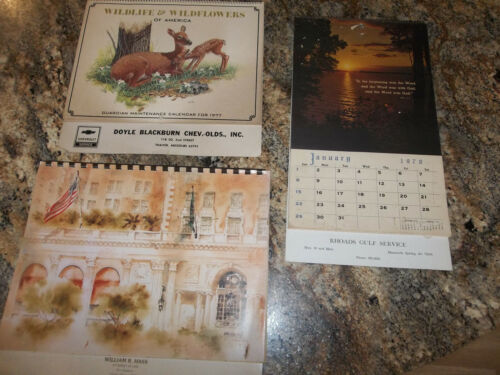 Lot of 3 Vintage Wall Calendars - Mammoth Spring, Arkansas & Thayer, Missouri